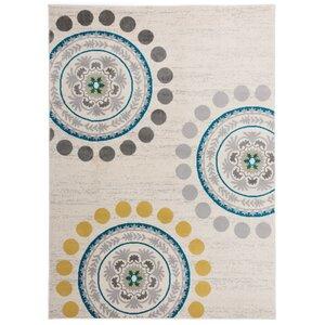 Eason Contemporary Circles and Dots Cream Area Rug