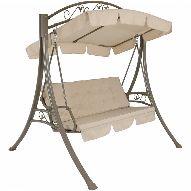 Freeport Park Basile Steel Frame Cushioned Porch Swing with Stand ...