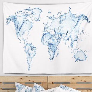 World map tapestries youll love abstract world map water splash tapestry and wall hanging gumiabroncs Images