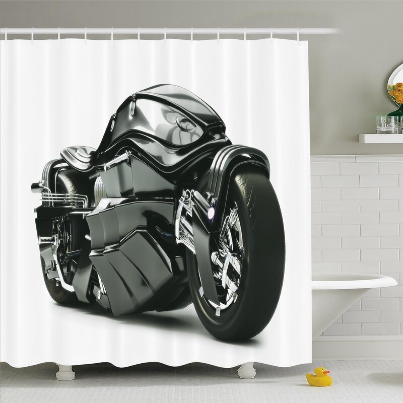 Ambesonne Future Ride Motorcycle Shower Curtain Set