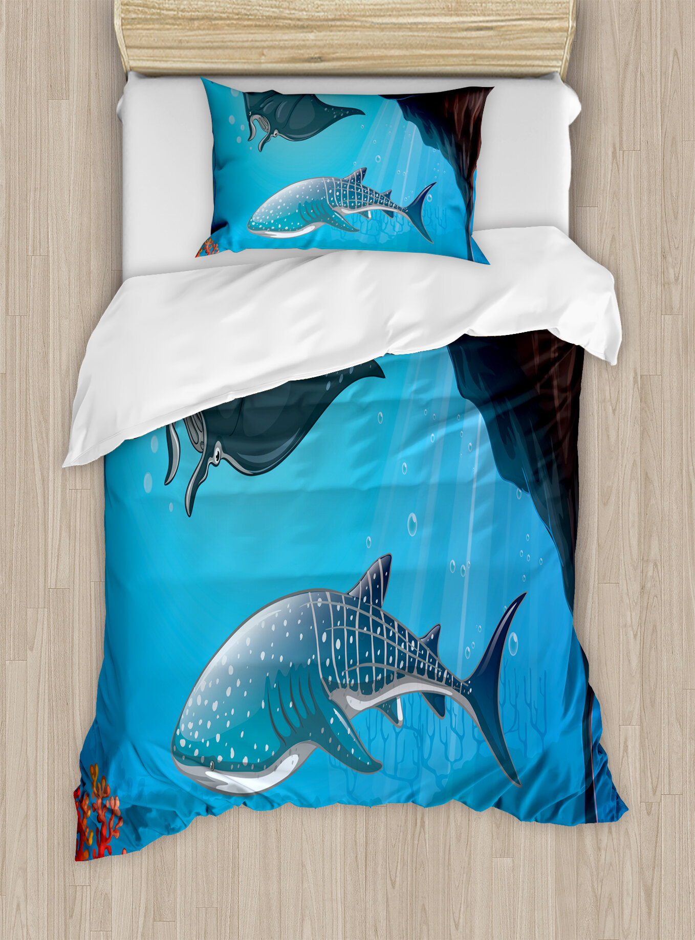 1a42ca05845c Ambesonne Sea Animal Shark Deep Water Stingray with Coral Reefs Algae Rocky  Cave Exotic Cartoon Duvet Cover Set