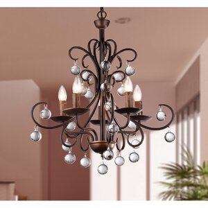 Grace Drop Curved 5-Light Candle-Style Chandelier