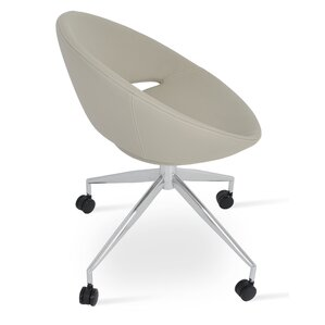 Crescent Spider Swivel Side Chair in PPM Leatherette - Bone by sohoConcept