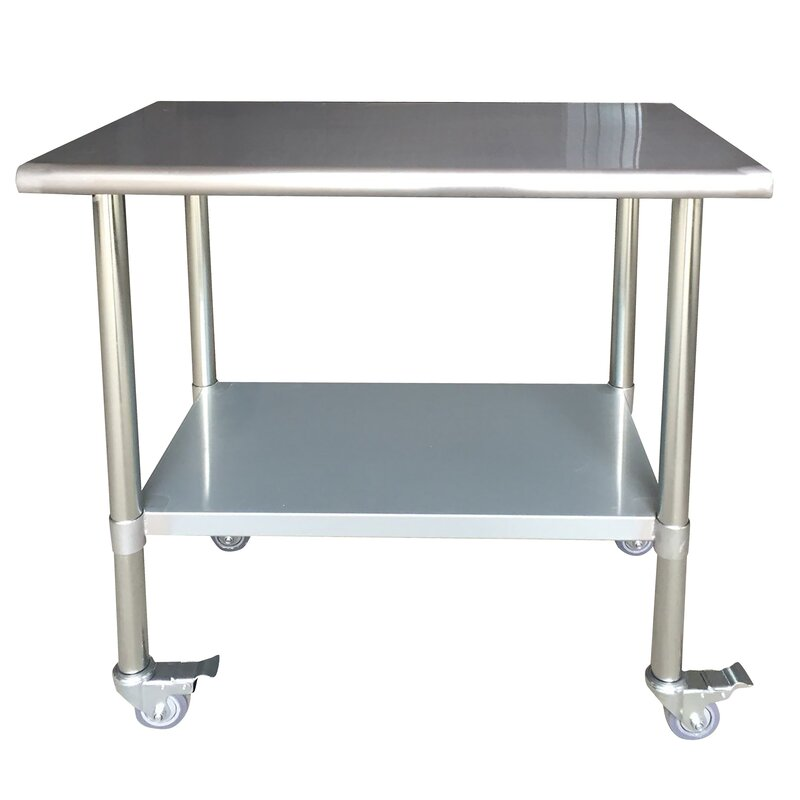 amerihome stainless steel top workbench with casters reviews. Black Bedroom Furniture Sets. Home Design Ideas
