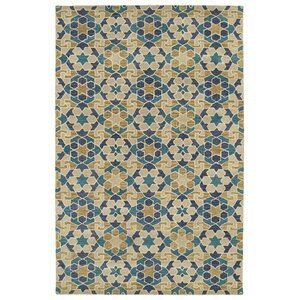 Devereaux Hand Tufted Blue/Beige Area Rug