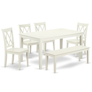 Laffey 6Pc Rectangular 60 Inch Table And 4 Double X Back Chairs Plus 1 Bench