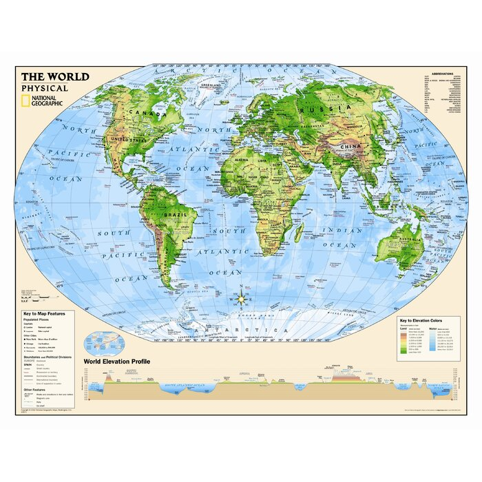 National Geographic Maps Kids Physical World Wall Map Grades - Kids wall map