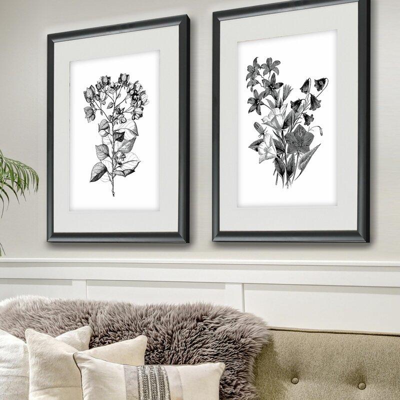 7a7e00ca8bf Botanical Black and White  2 Piece Framed Acrylic Painting Print Set ...