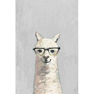 Elian White Llama with Glasses III Canvas Art by Viv   Rae