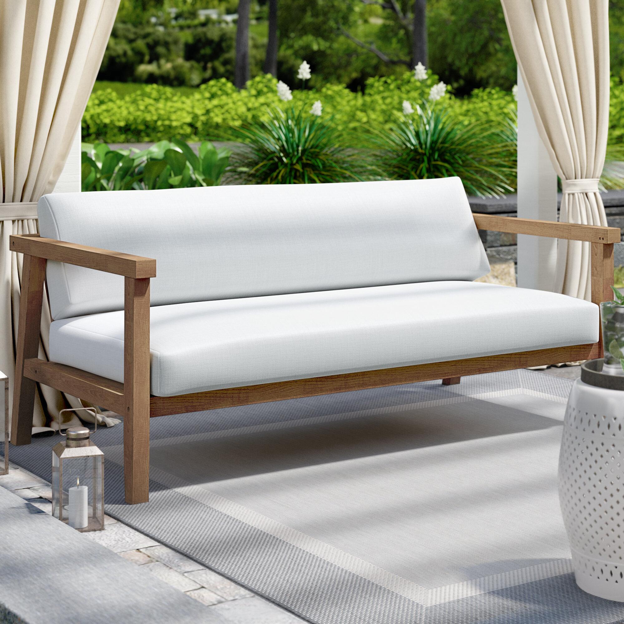 Bayou Breeze Edmeston Outdoor Teak Loveseat with Cushions & Reviews ...