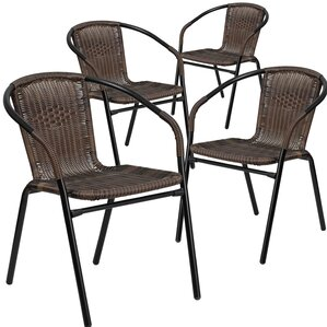 Abrahamic Stacking Dining Arm Chair (Set Of 4)  Patio Dining Furniture