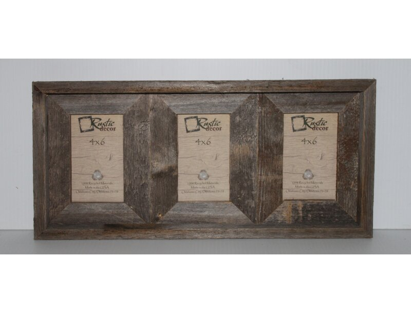 Loon Peak Ashbrook Rustic Barn Wood 3 Opening Collage Picture Frame ...