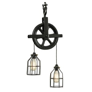 Barn Pulley 2-Light Cascade Pendant