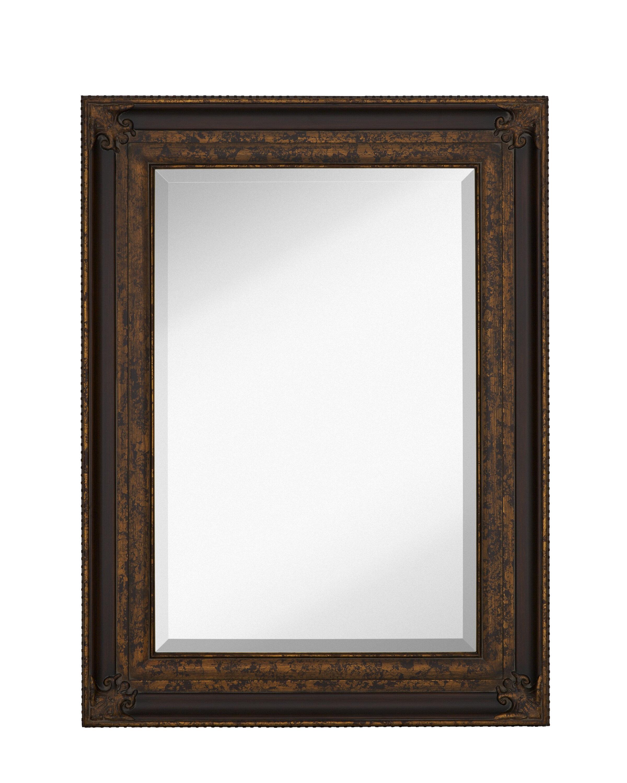Majestic Mirror Rectangular Antique Gold Leaf With Dark Brown Panel Frame  Wall Mirror | Wayfair