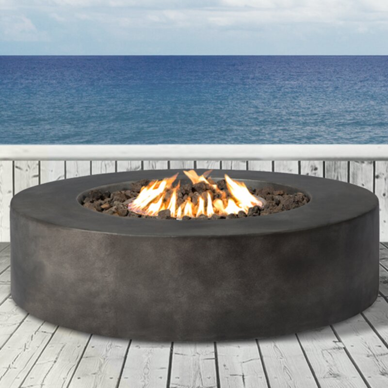 santiago concrete propane natural gas fire pit table reviews allmodern. Black Bedroom Furniture Sets. Home Design Ideas