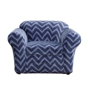 Stretch Chevron Box Cushion Ar..