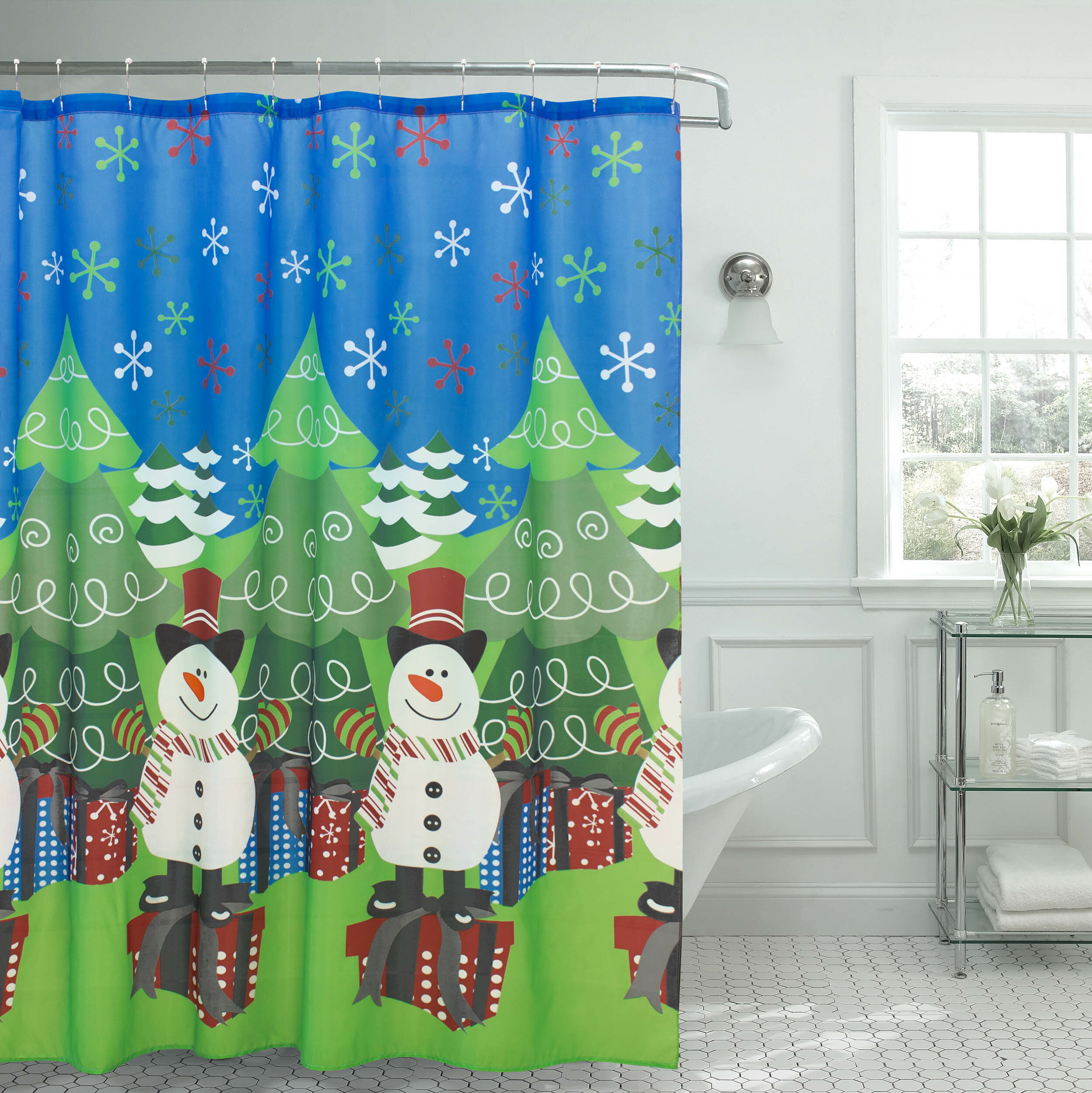 The Holiday Aisle Tree and Snowman Shower Curtain | Wayfair
