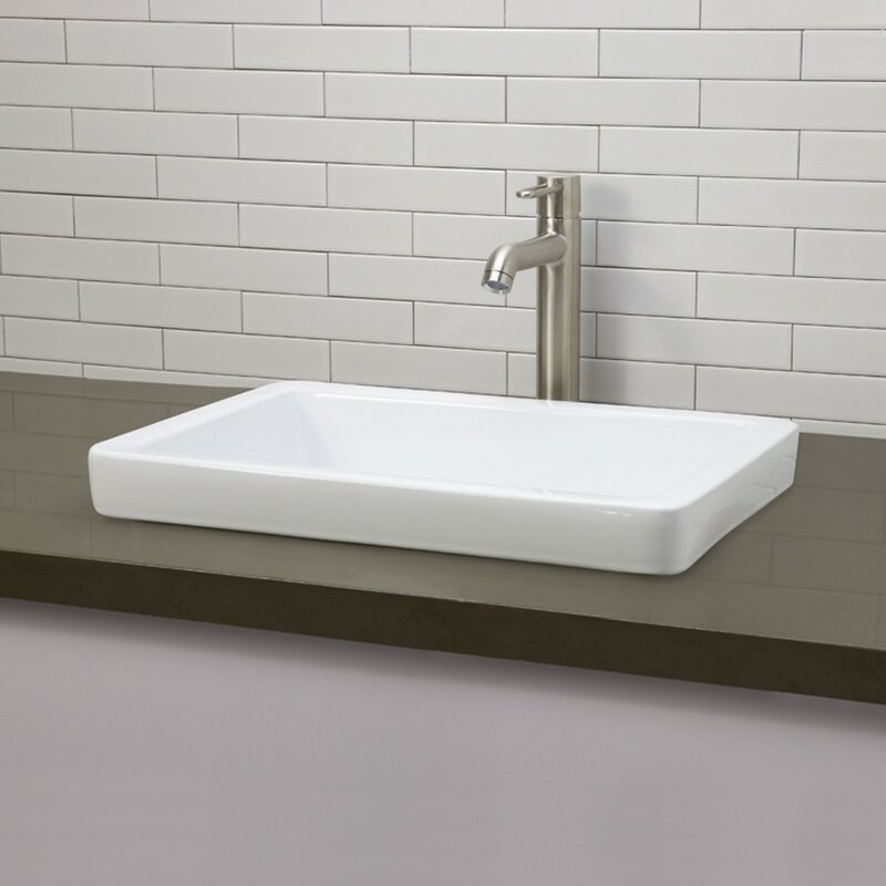 Ambre Classically Redefined Semi Rectangular Vessel Bathroom Sink