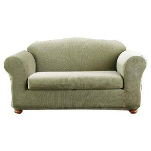 Charmant Stretch Madison Box Cushion Loveseat Slipcover