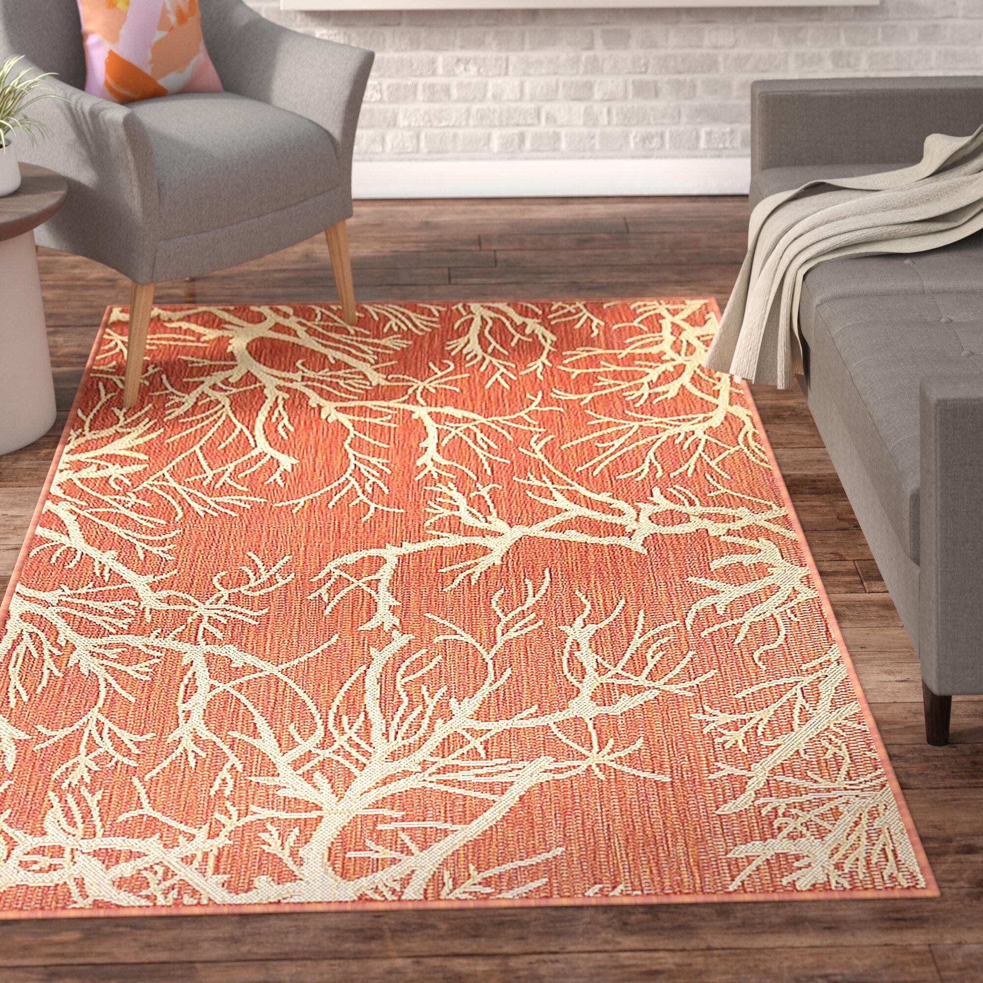 Ebern Designs Almaden Terracotta Indoor/Outdoor Area Rug