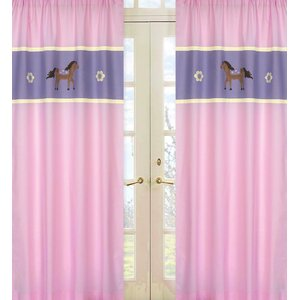 Pony Wildlife Semi-Sheer Rod Pocket Curtain Panels (Set of 2)