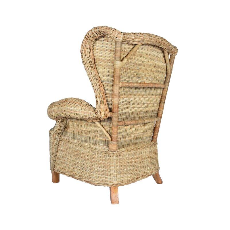 Bayou Breeze Averi Indoor/Outdoor Rattan Rolled Wingback Arm Chair ...
