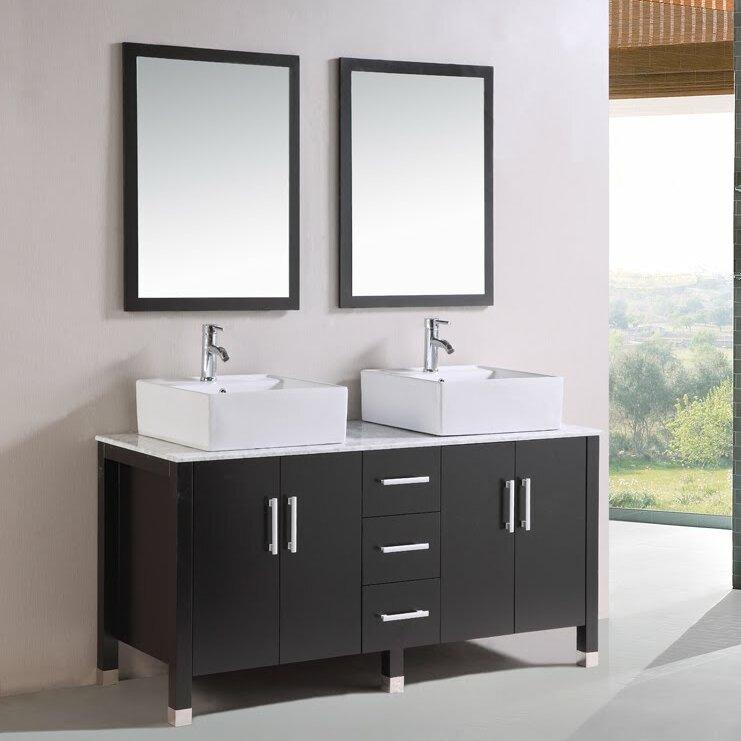 "Bathroom Vanities Jackson Tn kokols 60"" double bathroom vanity set with mirror & reviews   wayfair"