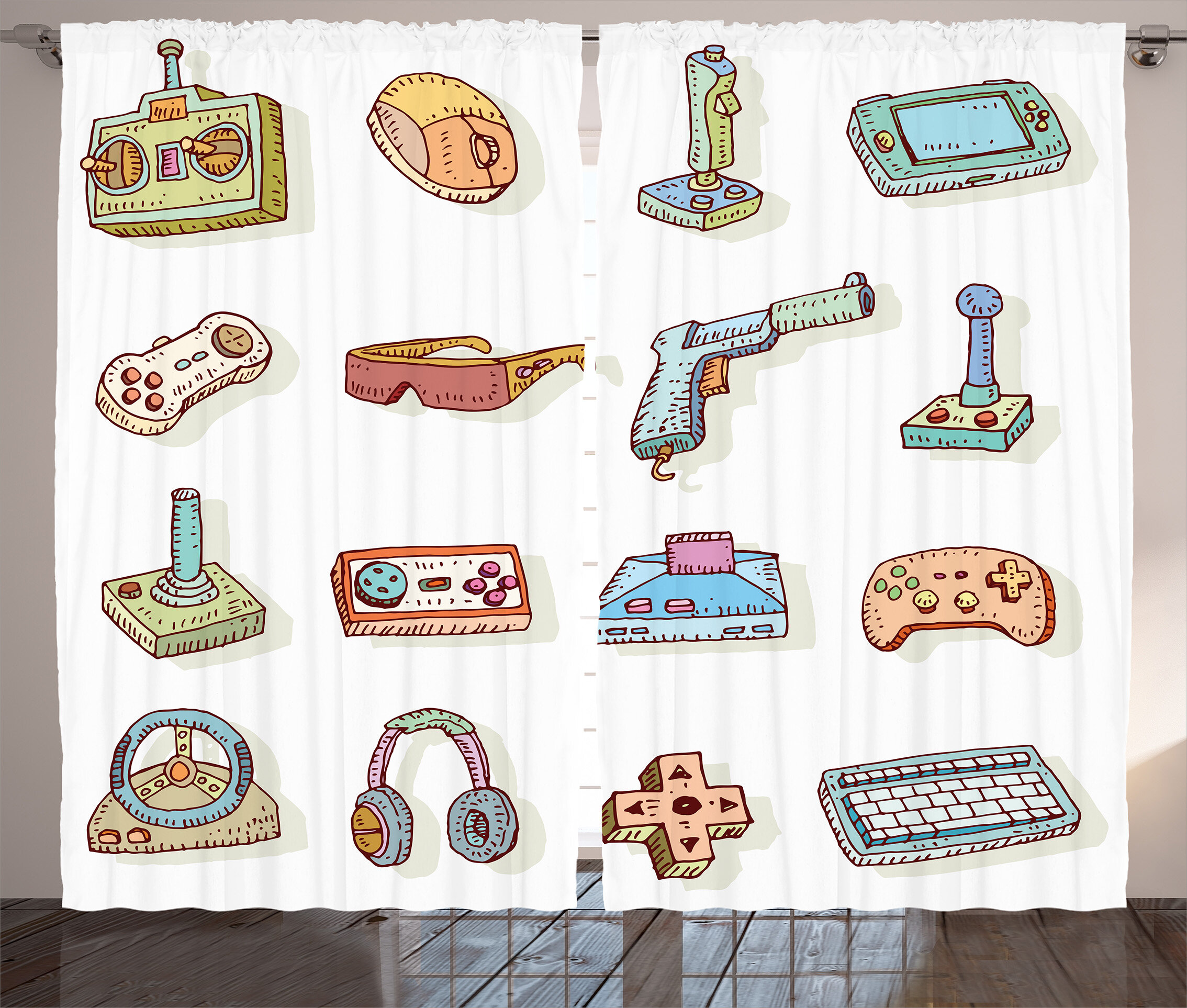 Dahms Video Games Retro Art Digital Fun Sketch Kids 90's Computer Console  Headphones Nerd Gun Joystick Graphic Print & Text Semi-Sheer Rod Pocket