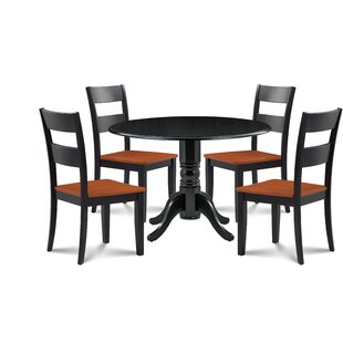Horatio 5 Piece Drop Leaf Solid Wood Dining Set