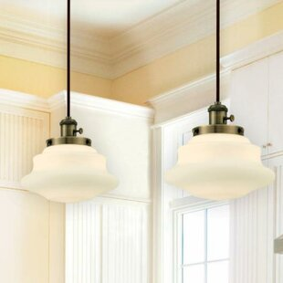Schoolhouse pendants youll love wayfair 1 light schoolhouse pendant aloadofball Image collections