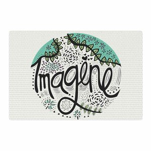 Pom Graphic Design Imagine Teal Nature Typography Black Area Rug