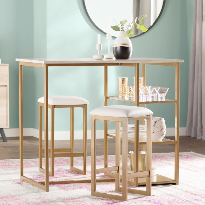 Mercury Row Denham 3 Piece Pub Table Set & Reviews | Wayfair.ca