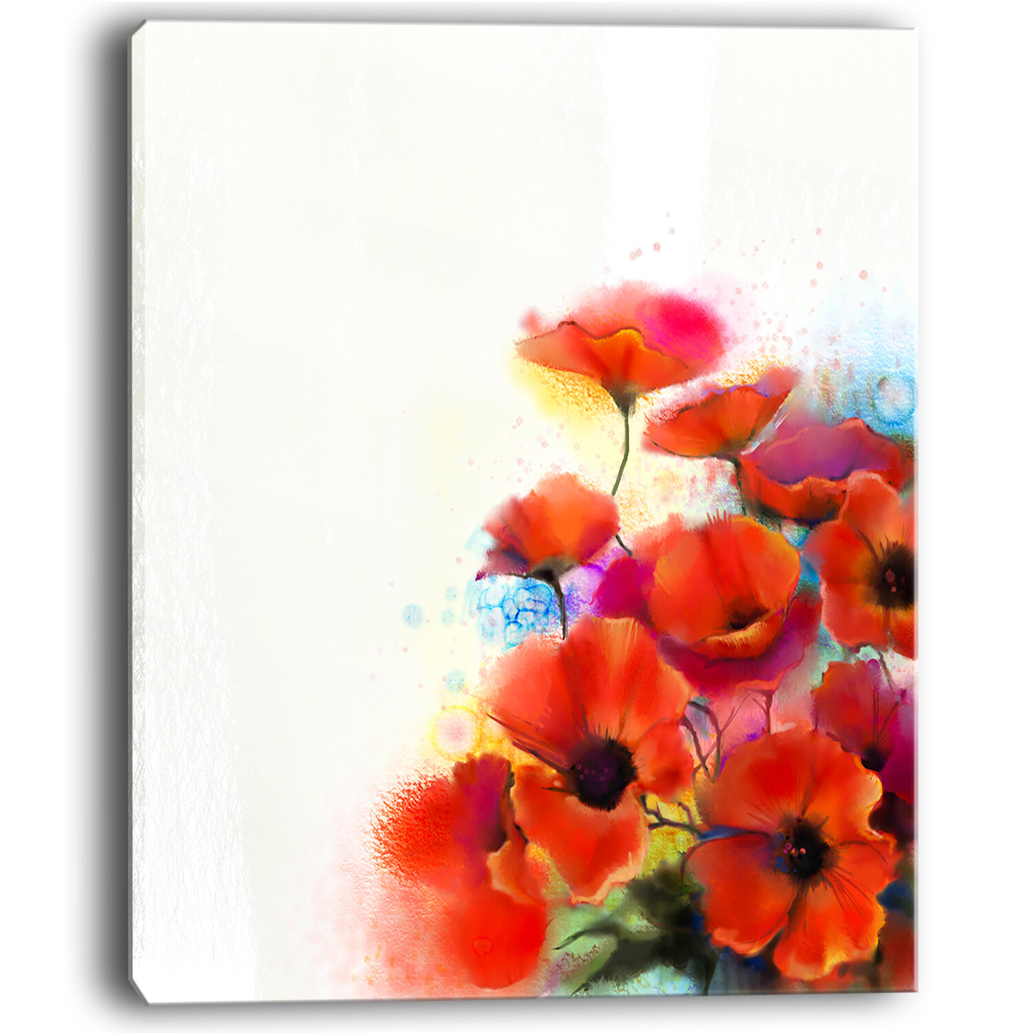 Designart Bunch Of Watercolor Poppy Flowers Large Flower Painting