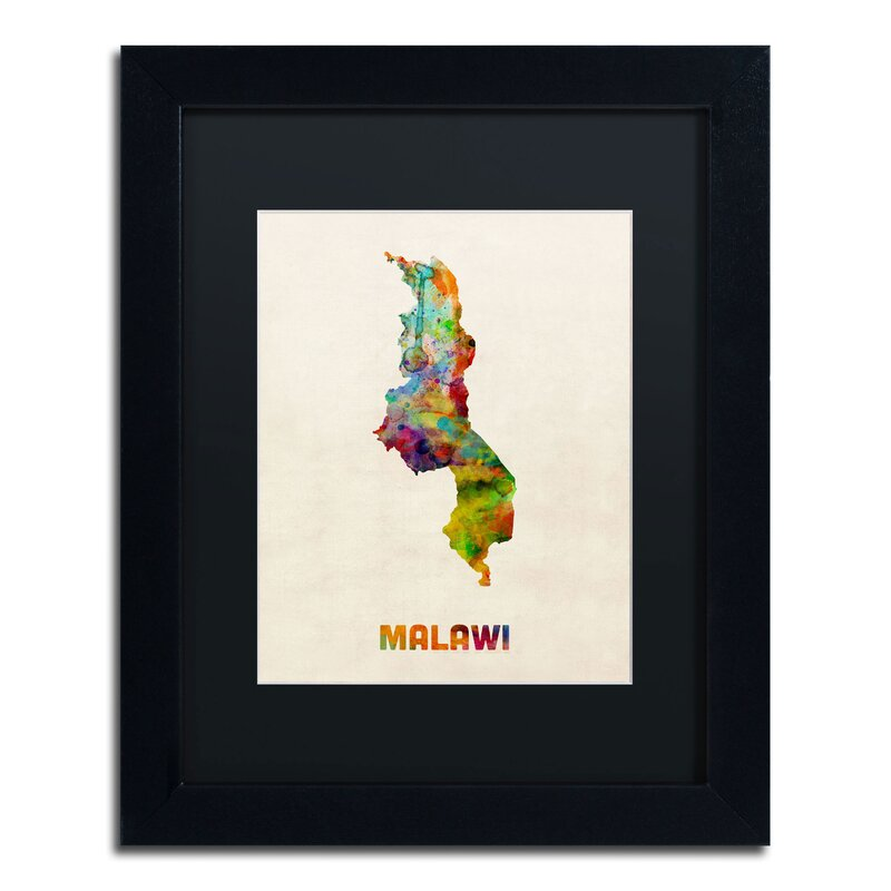 Trademark art malawi watercolor map by michael tompsett framed malawi watercolor map by michael tompsett framed graphic art gumiabroncs Gallery