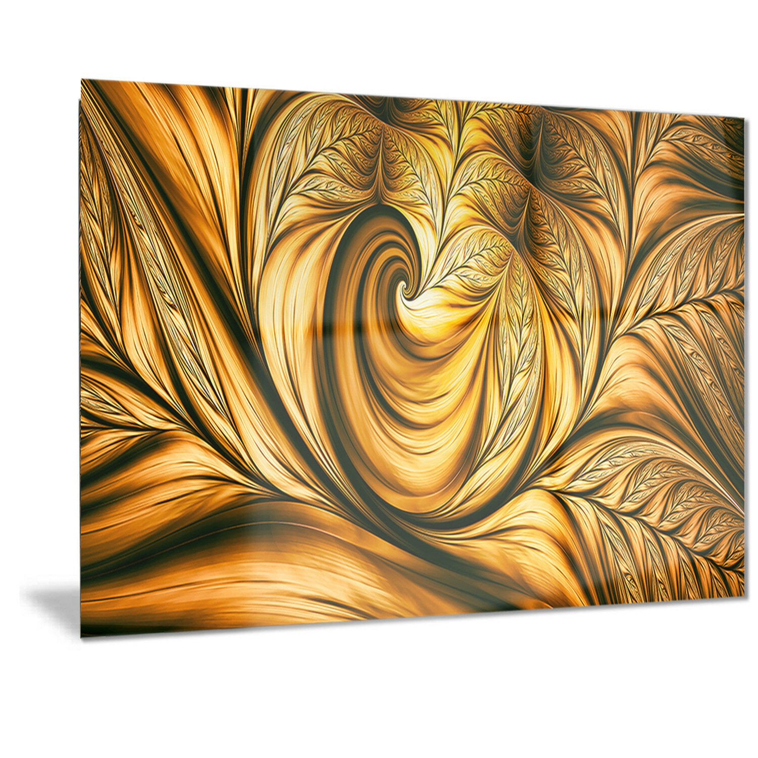 DesignArt Metal \'Golden Dream Abstract\' Graphic Art | Wayfair