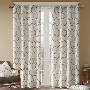 Clair Geometric Semi Sheer Rod Pocket Single Curtain Panel Part 96