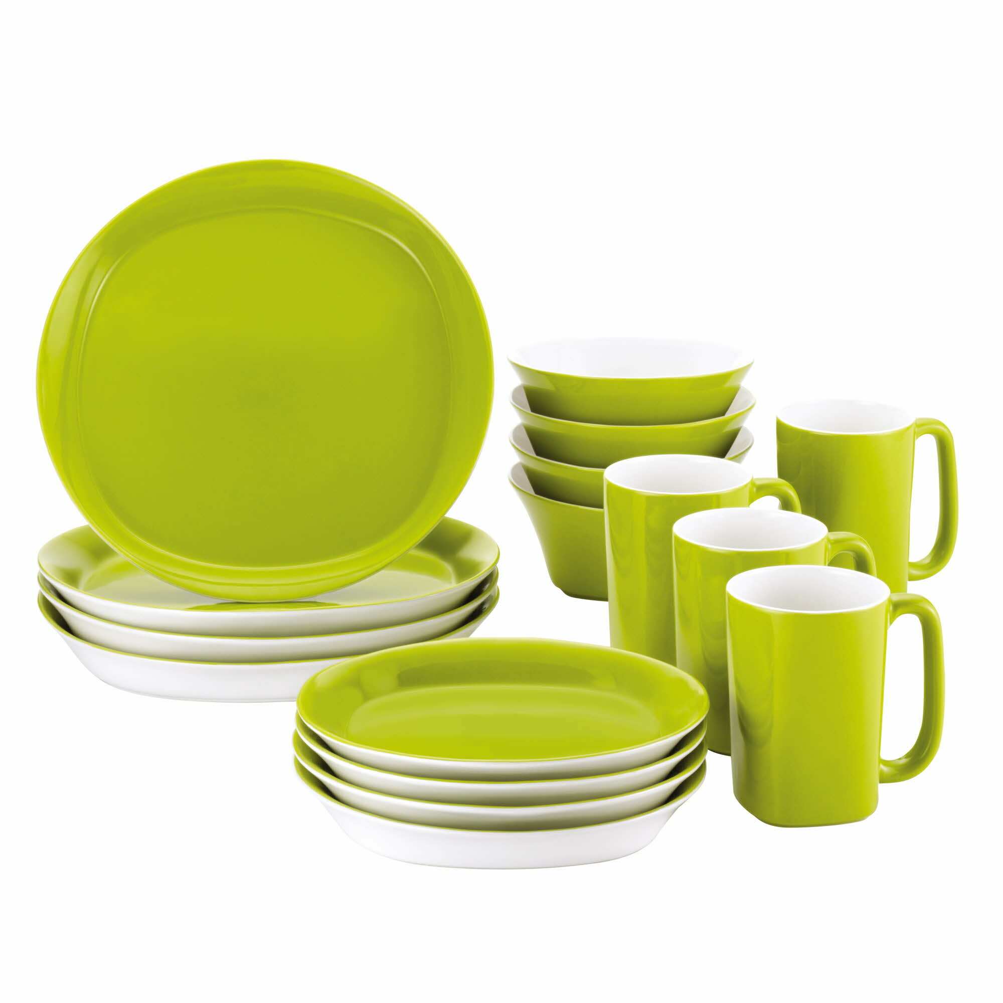 Rachael Ray Round & Square 16 Piece Dinnerware Set Service for 4 ...