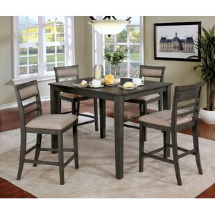 Hansford Wooden 5 Piece Counter Height Dining Table Set