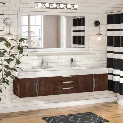Brayden Studio Hukill 72 Wall-Mounted Double Bathroom Vanity Set Base Finish: Coffee Oak