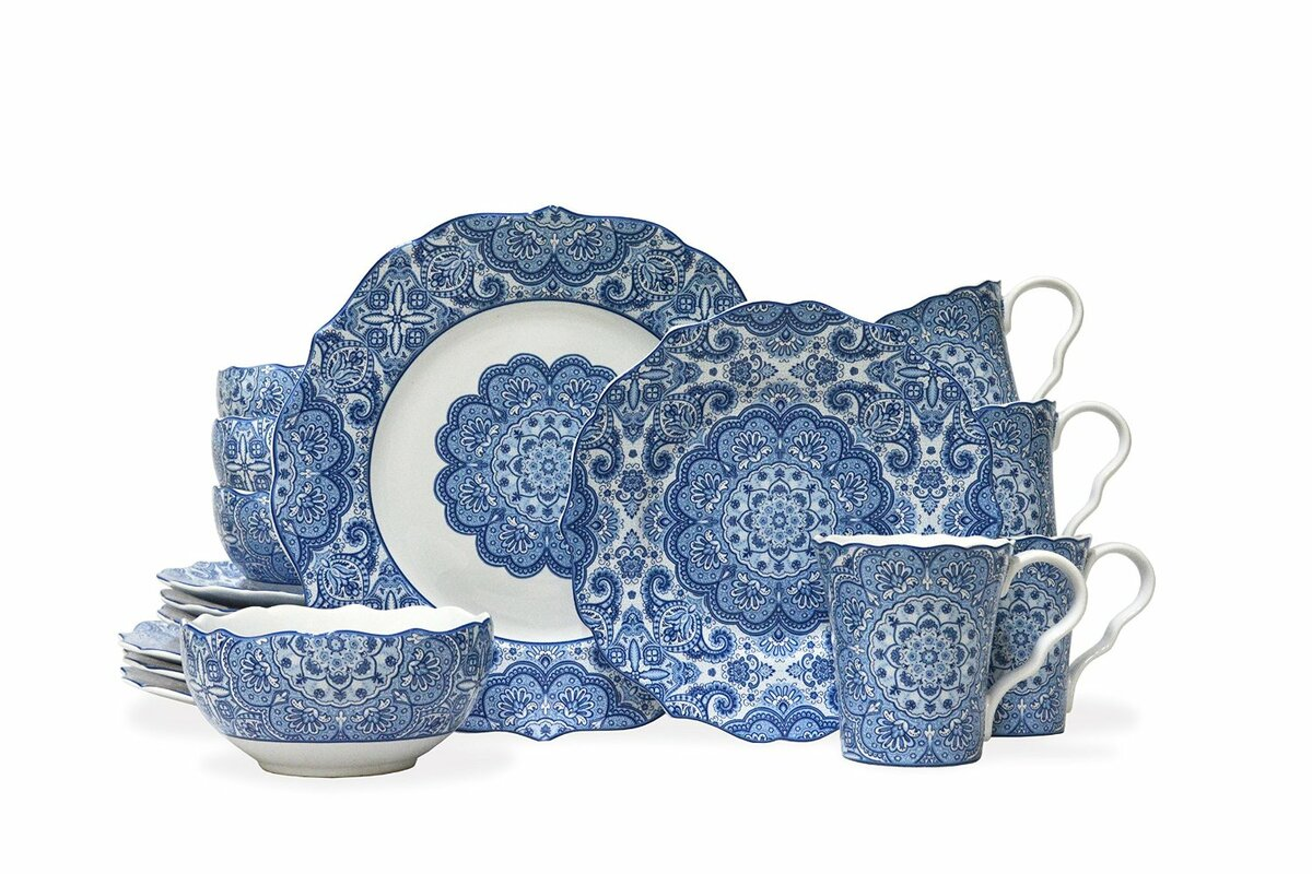 222 Fifth Lyria 16 Piece Dinnerware Set, Service for 4 & Reviews ...
