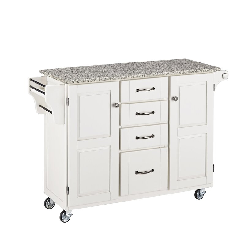 kitchen island cart marble top august grove adelle a cart kitchen island with granite top 8154