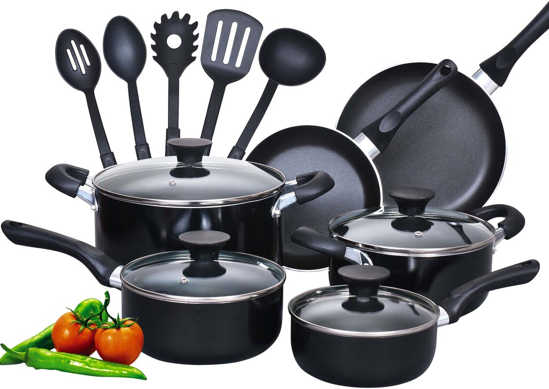 Cook N Home 15 Piece Soft Handle Nonstick Cookware Set & Reviews ...