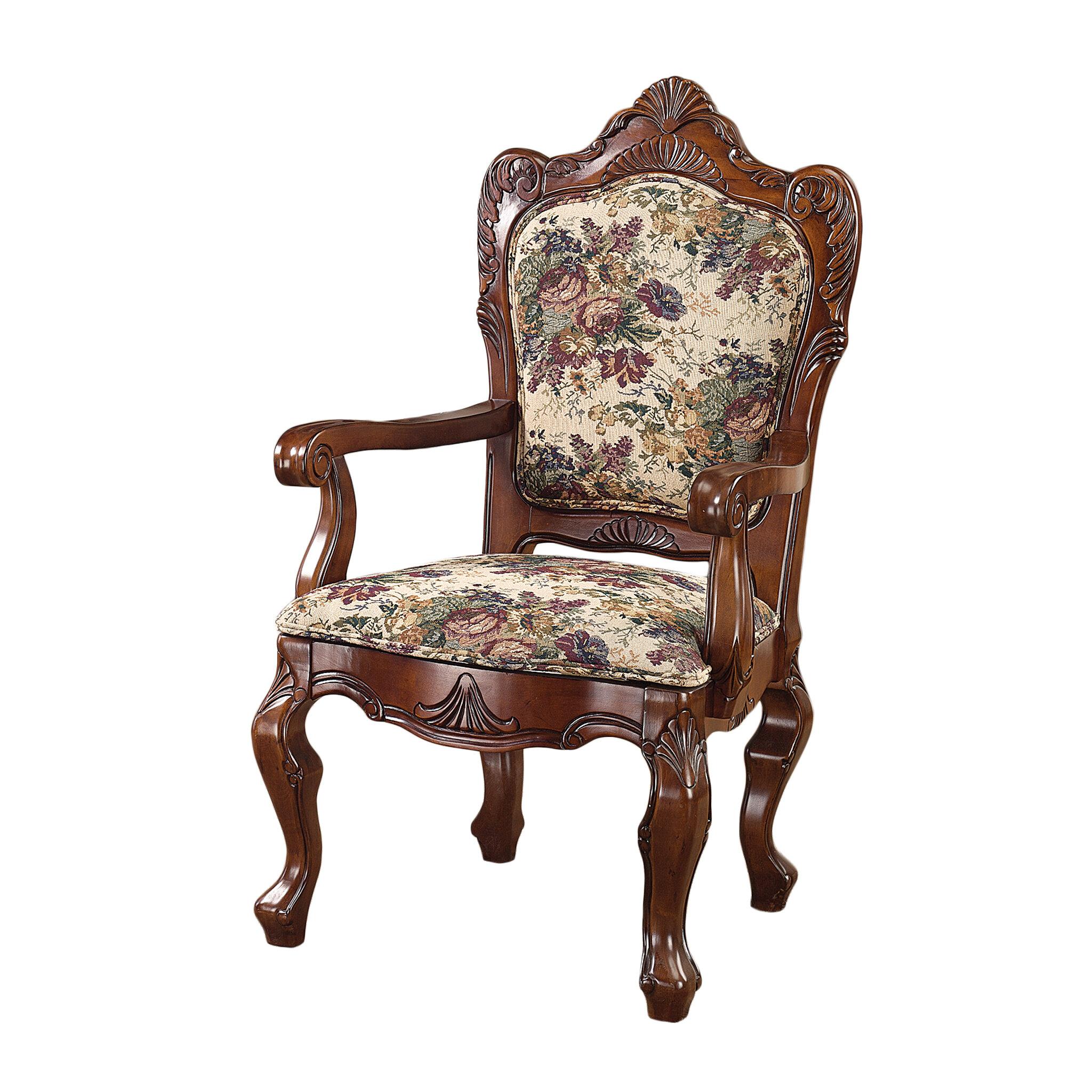 Design Toscano Emily Dickinson Floral Jacquard Fabric Armchair U0026 Reviews |  Wayfair