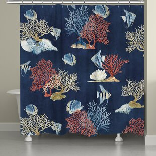 Blue And Coral Shower Curtain | Wayfair