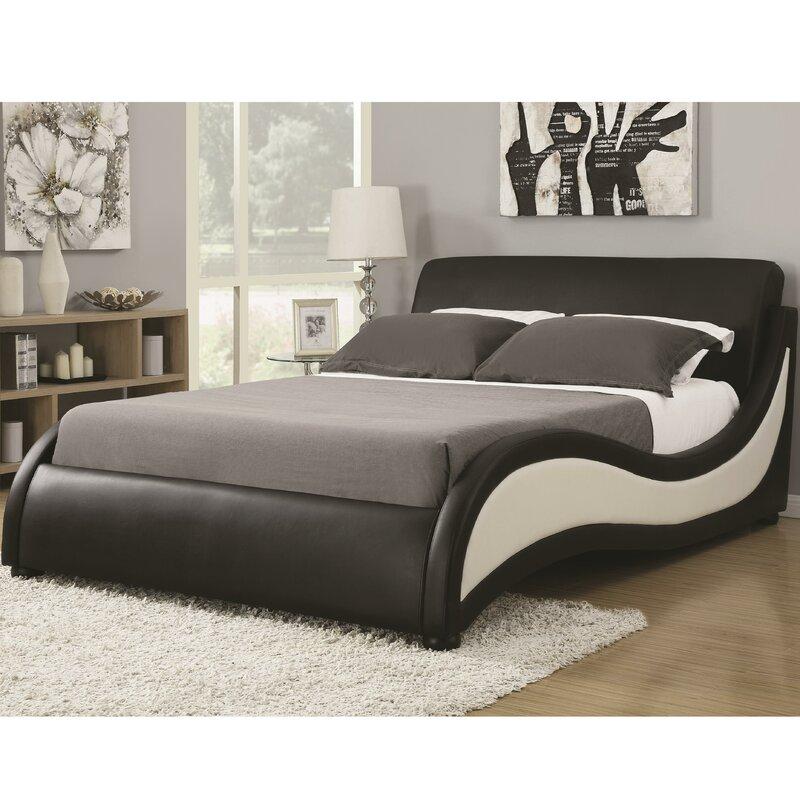 Upholstered platform bed frame King Wayfair Wade Logan Alma Upholstered Platform Bed Reviews Wayfair