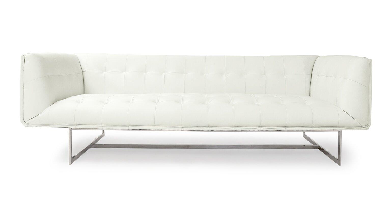 kardiel edward mid century modern leather chesterfield sofa  - defaultname