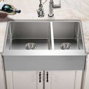 Epicure 33 L X 20 W Series 60 40 Double Bowl A Front Kitchen Sink