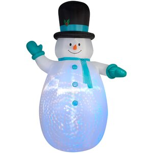Airblown Projection Giant Snowman with Swirls Inflatable