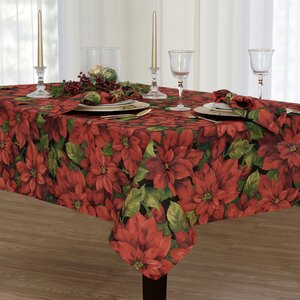 Poinsettia Celebration Oblong Tablecloth