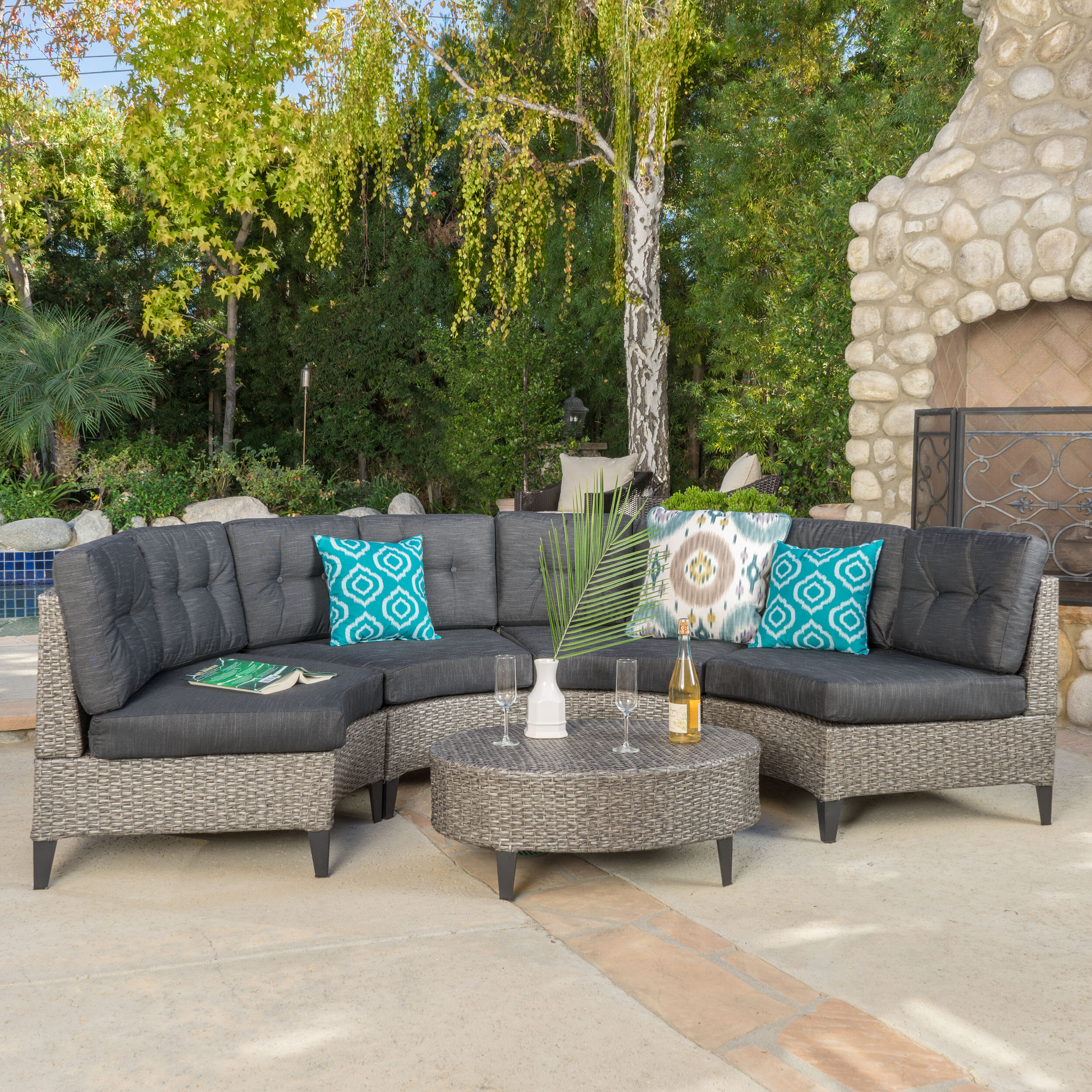 Brayden Studio Stoneman 5 Piece Rattan Sofa Set With Cushions Reviews Wayfair